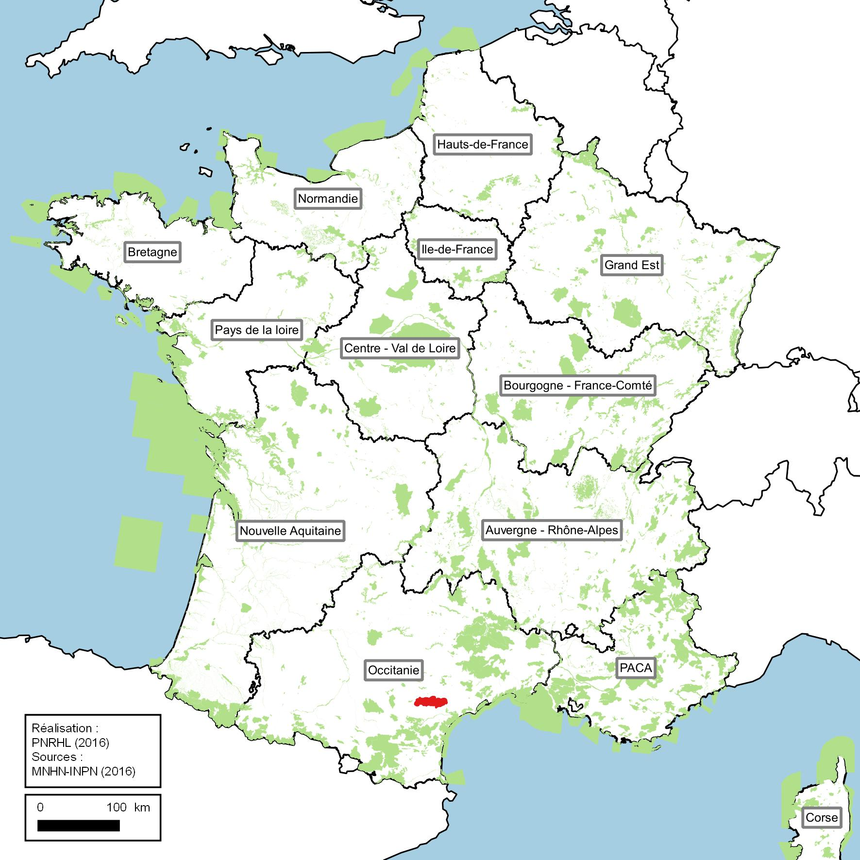 Carte des sites Natura 2000 en France